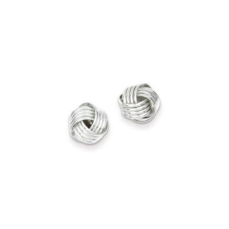 10mm Ridged Love Knot Earrings In Sterling Silver