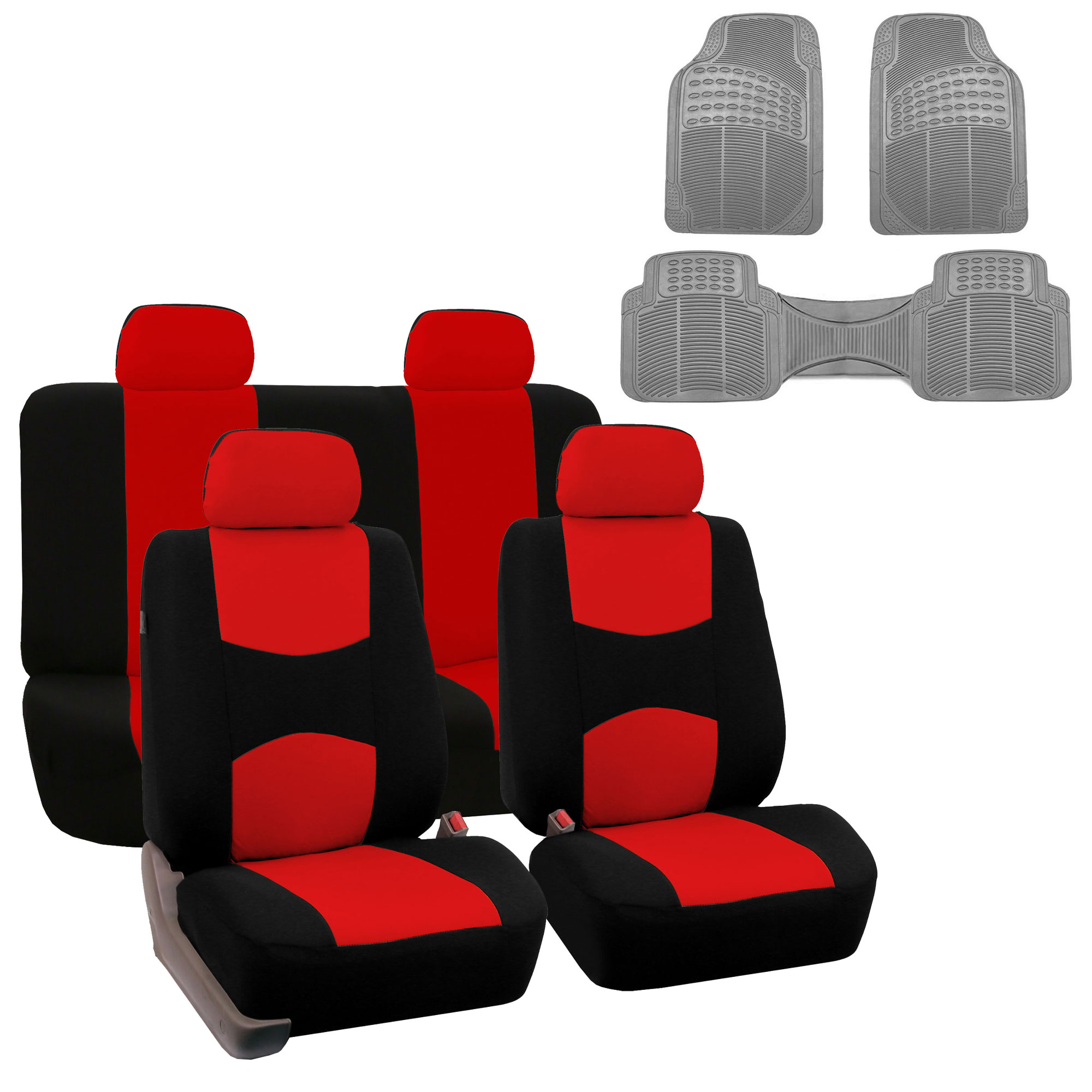 Car Seat Cover Full Set For For Auto Car SUV Truck Van w/ Floor Mat Red