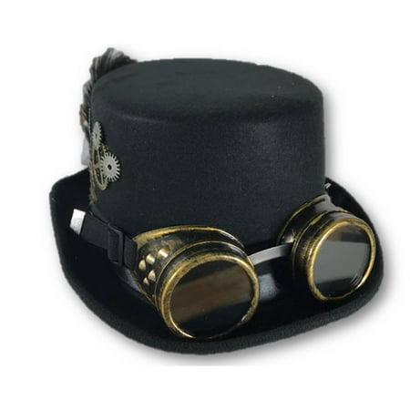 Ladies Deluxe Top Hat Goggles Black Steampunk Victorian Gears Costume Accessory - Wolf Hat Costume