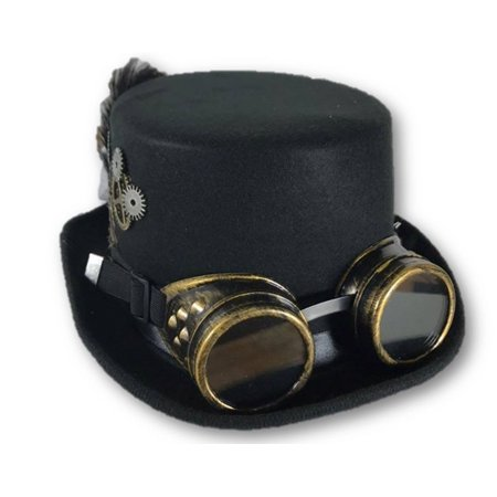 27732 black) ladies steampunk hat wgoggles and trim