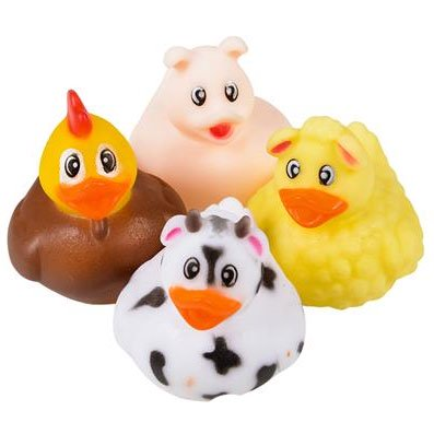 Rhode Island Novelty - Rubber Ducks - BARNYARD DUCKIES (Set of 4 Styles)