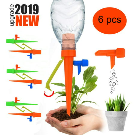【2019 NEW 】Plant Self Watering Spikes System with Slow Release Control Valve Switch Self Irrigation Watering Drip Devices, Plant Waterer with Anti-Tilt Anti-Down Bracket, Suitable for All Bottles 6pcs ()