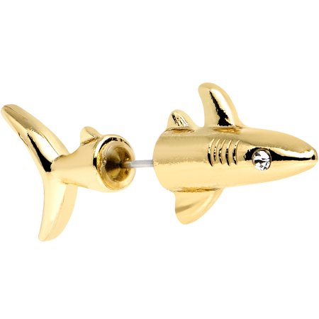 Shark Candy (Body Candy Gold Plated Stainless Steel Ocean Shark Cheater Plug 16 Gauge)