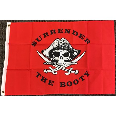 Jolly Roger Surrender the Booty Pirate Flag Ship Banner Pennant Sign 3x5 Outdoor for $<!---->