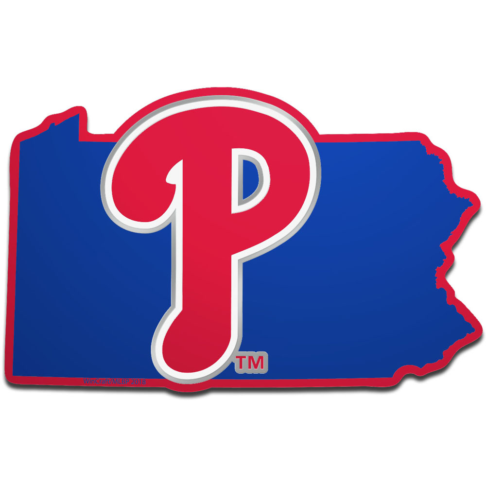 Philadelphia Phillies WinCraft Metallic State Shape Acrylic Auto Emblem - No Size