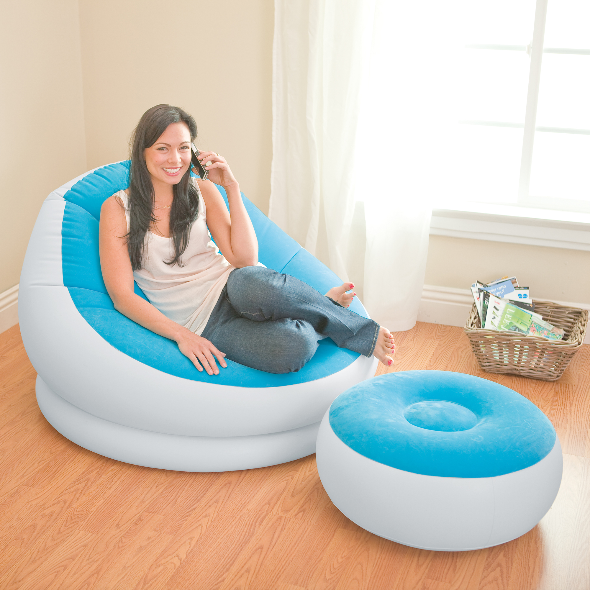 INTEX Inflatable Colorful Cafe Chaise Lounge Chair w/ Ottoman - Blue   10E