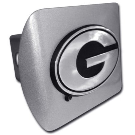 Ncaa Georgia Bulldogs Hitch Cover - University of Georgia Emblem on Brushed Hitch Cover