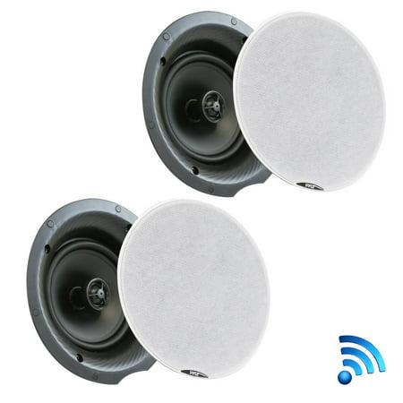 Ceiling Speaker Mounting Kit - Pyle PDICBT67 - Dual 6.5'' Bluetooth Ceiling / Wall Speaker Kit, (2) Flush Mount 2-Way Speakers, 300 Watt