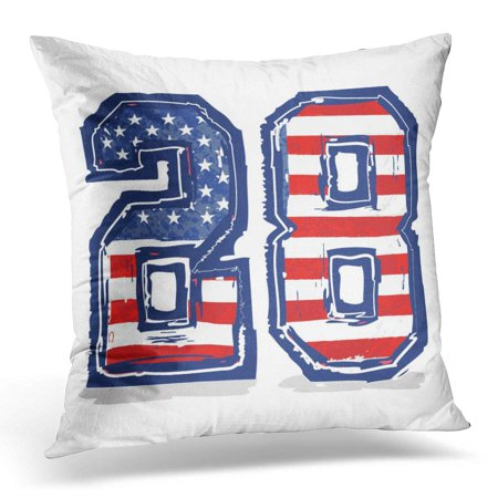 BOSDECO Blue America American Flag Numbers Graphics Gray Children Pillowcase Pillow Cover Cushion Case 16x16 inch - image 1 de 1