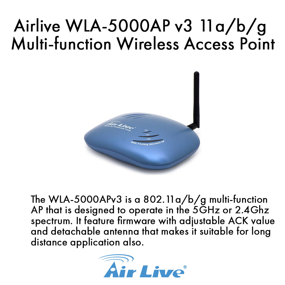 Airlive WLA-5000AP 802.11a/b/g Multi-function Dual Band Wireless Access Point