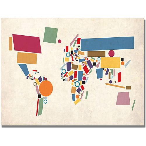 "Trademark Art ""Abstract Shapes World Map"" Canvas Art by Michael Tompsett"