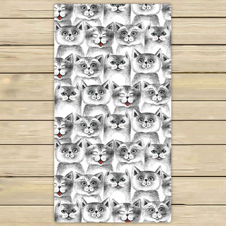 PHFZK Cute Cats Seamless Pattern Towel Sets Hand Towel Bath Bathroom Shower Towels Beach Towel 30x56 inches Cat Beach Towel