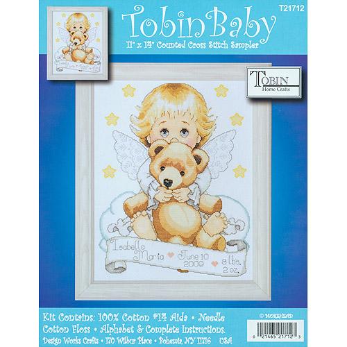"Tobin Angel Birth Record Counted Cross Stitch Kit, 11"" x 14"", 14 Count"