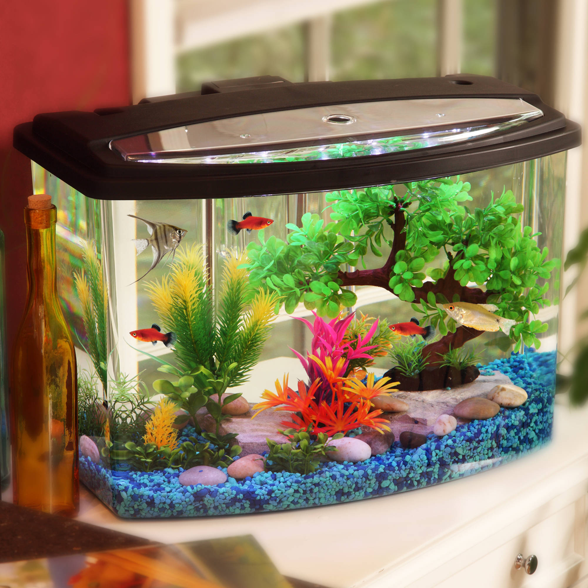 Hawkeye AquaView Aquarium Kit with LED Light and Power Filter 7