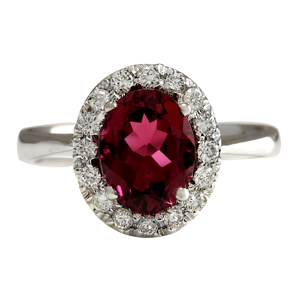 2.35CTW Natural Pink Tourmaline And Diamond Ring 14K Solid White Gold by