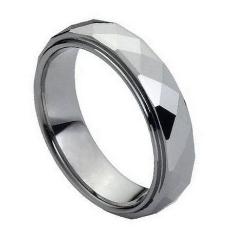 TK Rings 090TR-6mmx9.5 6 mm Domed Faceted Ring Stepped Edge Tungsten Ring - Size 9.5