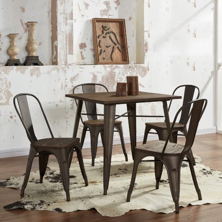 Industrial Style 5 Pc Dining Table Set Gunmetal