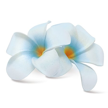 Plumeria Foam - Hawaii Hair Clip Foam Double Flower Plumeria White Blue