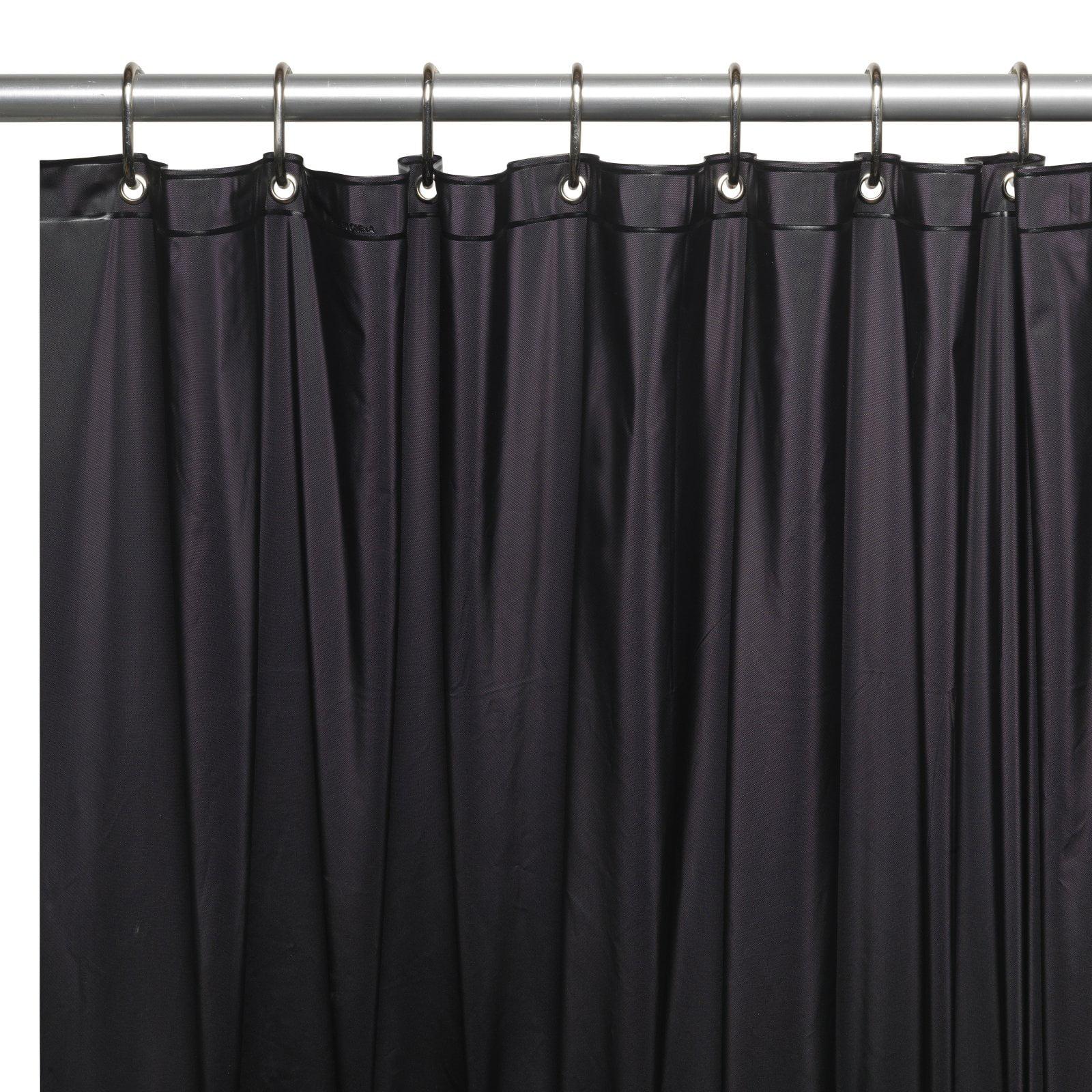 Mildew Resistant 10 Gauge Vinyl Shower Curtain Liner W Metal Grommets And Reinforced Mesh Header In Black