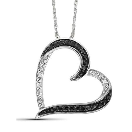 Diamond Open Heart Pendant - JewelersClub 1/10 Carat T.W. Black and White Diamond Sterling Silver Open Heart Pendant