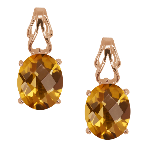 3.20 Ct Checkerboard Champagne Quartz Gold Plated Sterling Silver Earrings
