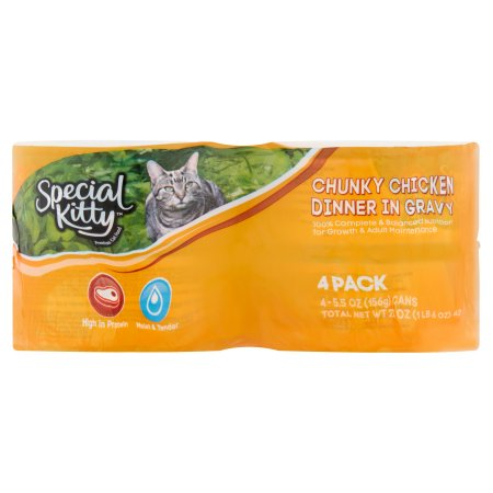 (6 Pack) Special Kitty Chunky Chicken Dinner In Gravy Wet Cat Food, 5.5 oz, 4 count