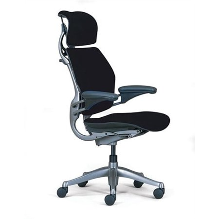 Humanscale Freedom Chair Fully Adjustable Model With Headrest in Black, Executive Office Chair (Humanscale Liberty Task Chair)