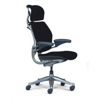 Humanscale Freedom Chair Fully Adjustable Model With Headrest in Black, Executive Office Chair