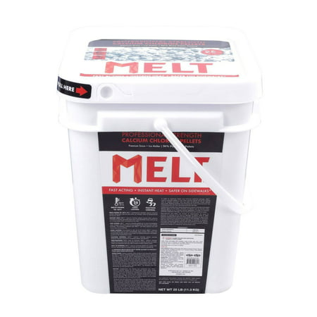MELT 25 lb Bucket Calcium Chloride Pellets Professional Strength Ice (Ice Melt 50 Lb Bag)