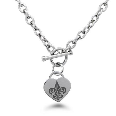 - Stainless Steel Tribal Fleur De Lis Heart Charm Bracelet, Necklace, or Set