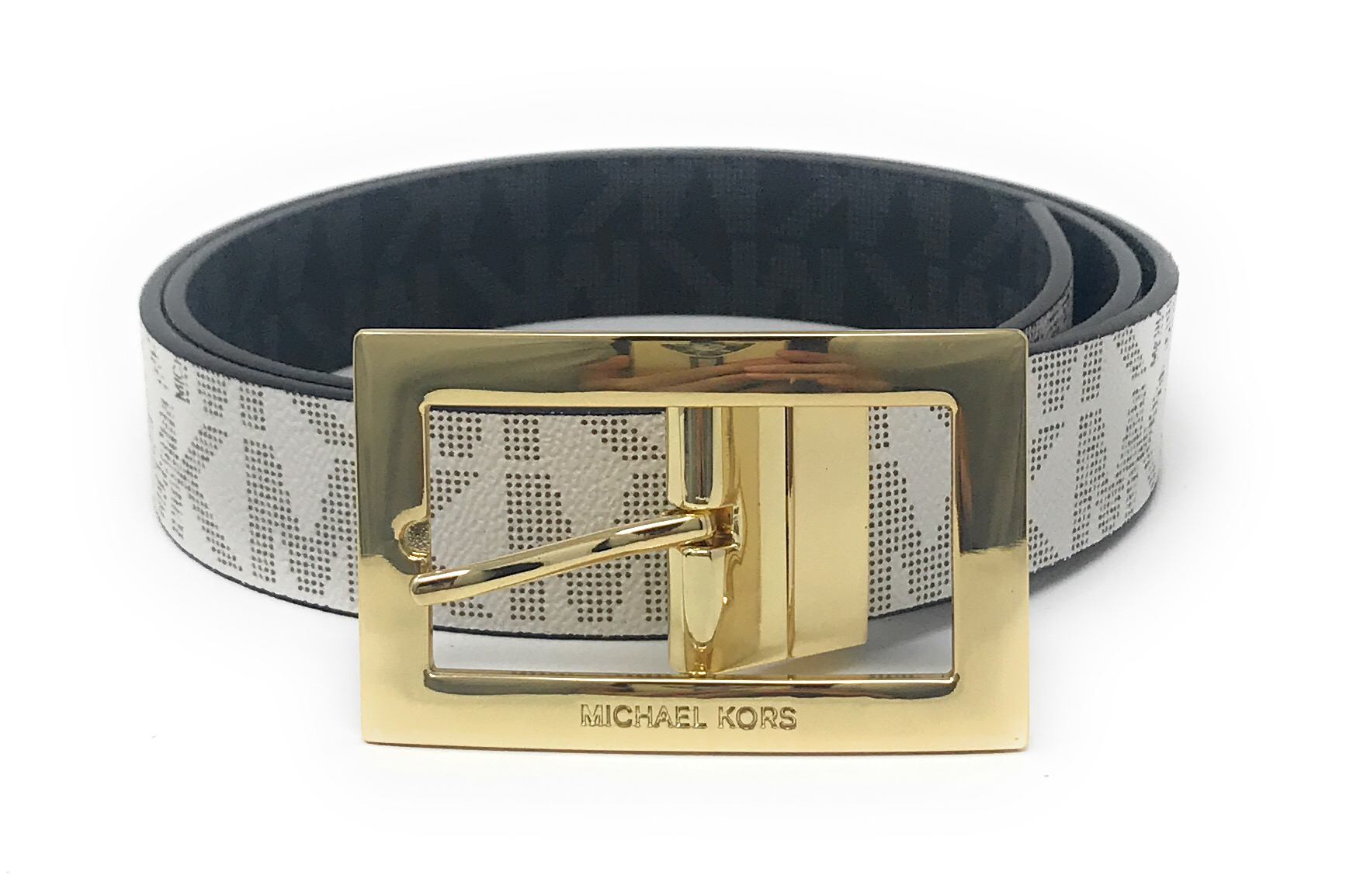 34bc8a0b706e ... get michael kors womens rectangle buckle reversible mk logo belt  551814c vanilla to black m ddb17