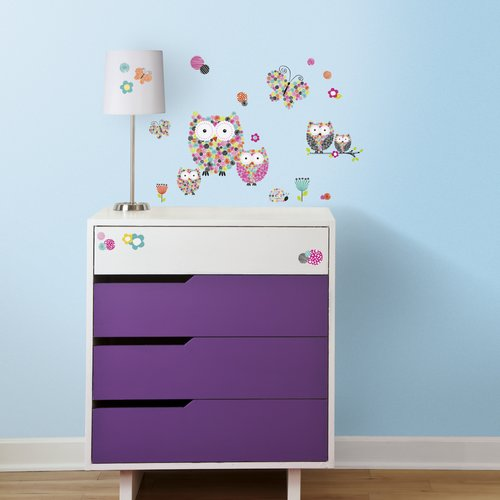 Prisma Owls& Butterflies Peel and Stick Wall Decals