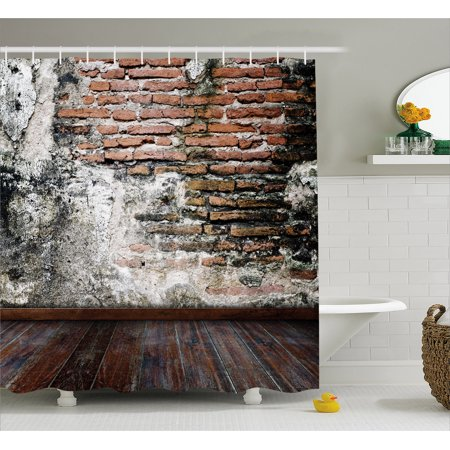 - Rustic Shower Curtain, Worn Looking Wall Photograph with Wooden Floors Ancient Building Structure, Fabric Bathroom Set with Hooks, 69W X 75L Inches Long, Cinnamon Black White, by Ambesonne