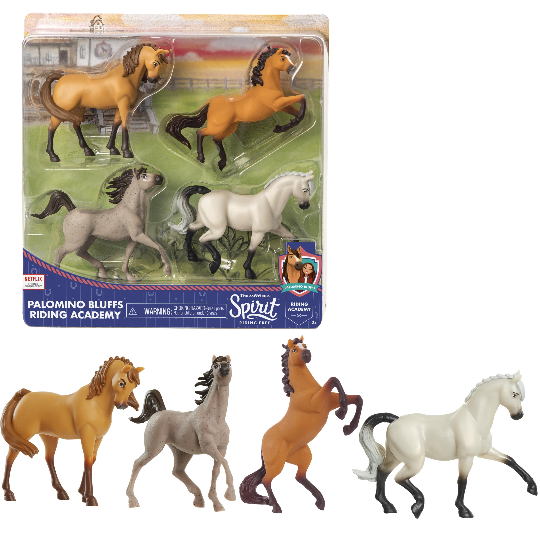 Dreamworks Spirit Riding Free Collectible Horse 4 Pack Palomino Bluffs Riding Academy Ages 3 Walmart Com Walmart Com