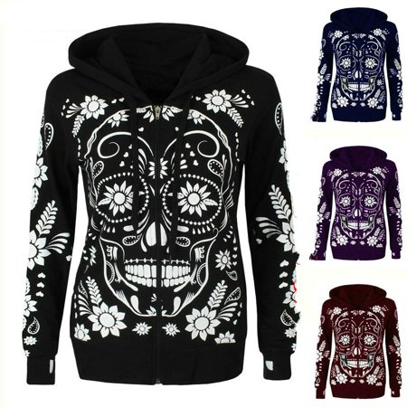 Rhinestone Skull Sweatshirt - 2018 Winter Women Fashion 3D Skull Print Hooded Casual Cotton Streetwear Hoodies for Women