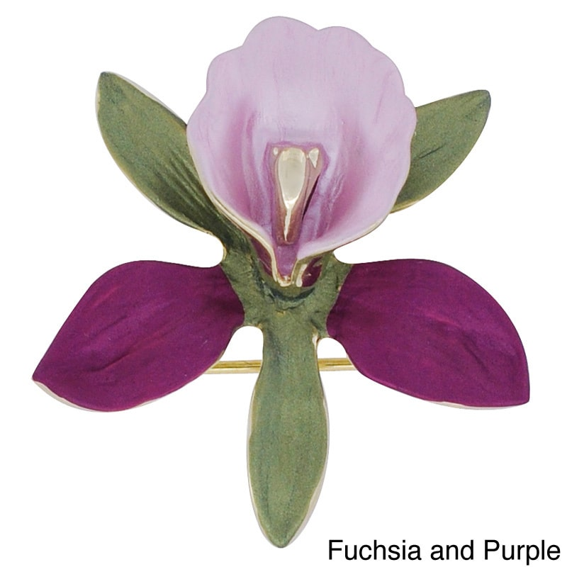 Fantasyard Orchid Flower Brooch Pin by Overstock