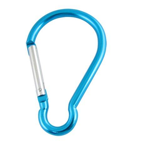 Silver Tone Spring Gate Blue Carabiner Hook Key Holder