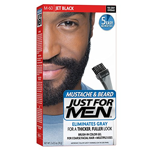 Just For Men Mustache and Beard Brush-In Color Gel, Jet Black (Pack of 3)