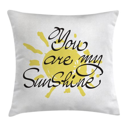Quotes Decor Throw Pillow Cushion Cover, Valentine's Day Image with Romantic Calligraphy on Colored Sun Motif, Decorative Square Accent Pillow Case, 16 X 16 Inches, Yellow Charcoal Grey, by Ambesonne