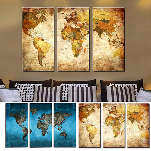 Girl12Queen 3Pcs World Map Home Living Room Wall Art Decor Unframed Decorative Paintings