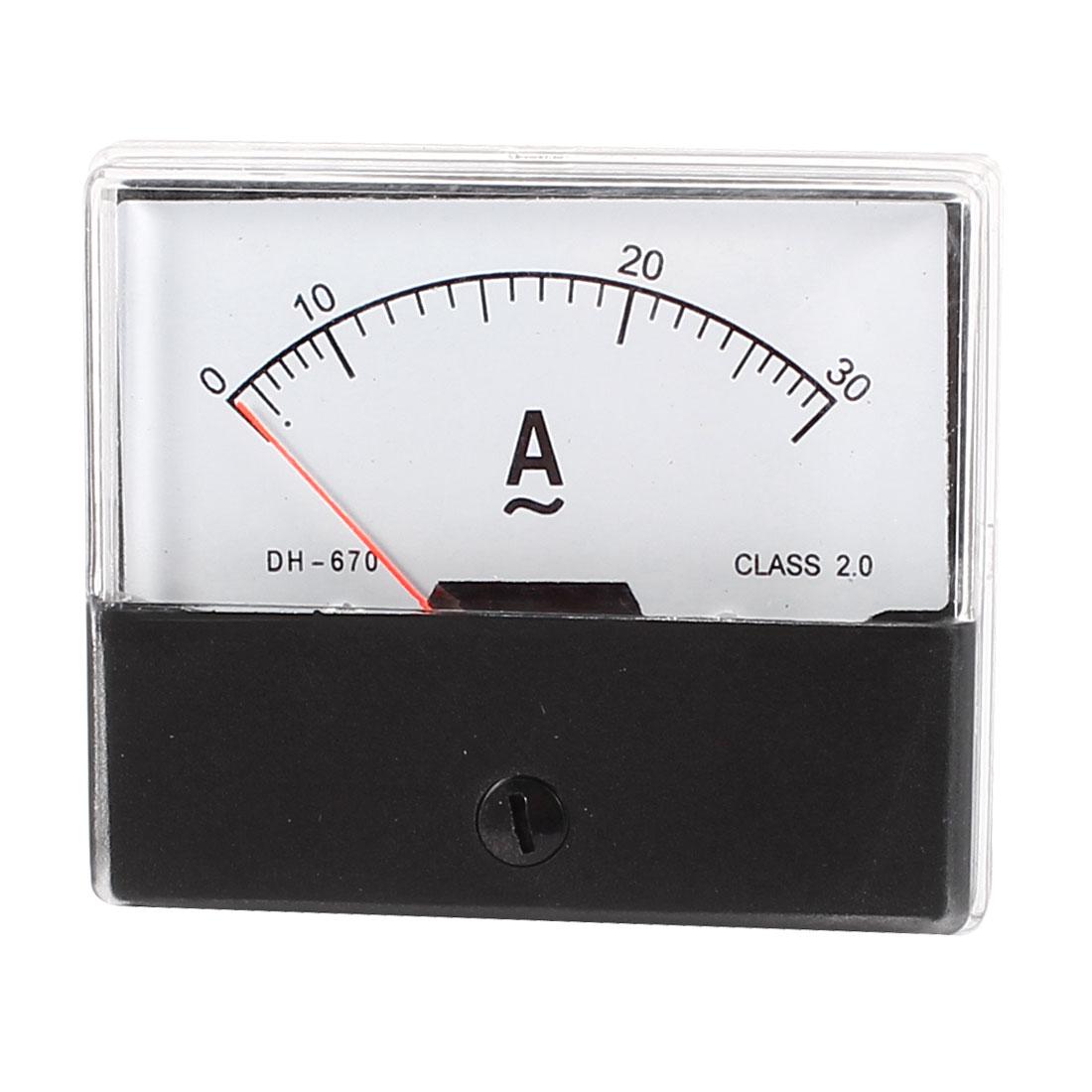 Indicateur panneau Rectangle analogique actuel outil mesure ampèremètre AC 30A - image 2 de 2