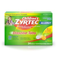 Children's Zyrtec 24 Hr Allergy Dissolve Tablets, Citrus Flavor, 24 ct