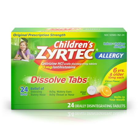 Children's Zyrtec 24 Hr Allergy Dissolve Tablets, Citrus Flavor, 24 ct