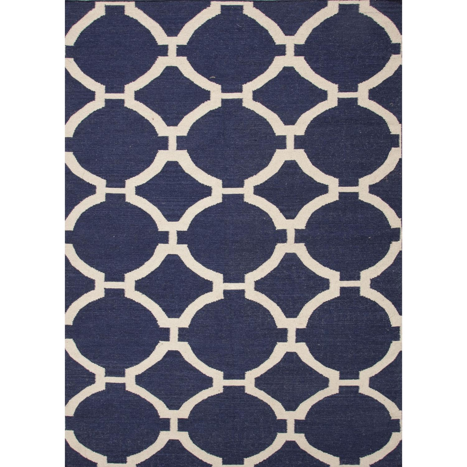 9' x 12' Navy Blue and White Flat Weave Rafi Wool Area Throw Rug