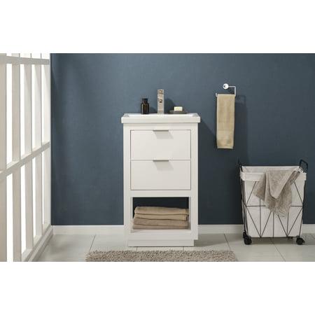 """Design Element Klein 20"""" Single Sink Bathroom Vanity In White"""