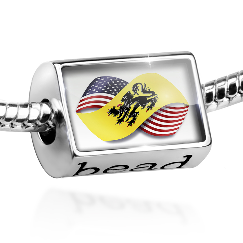 Bead Infinity Flags USA and East Flanders region Belgium Charm Fits All European Bracelets