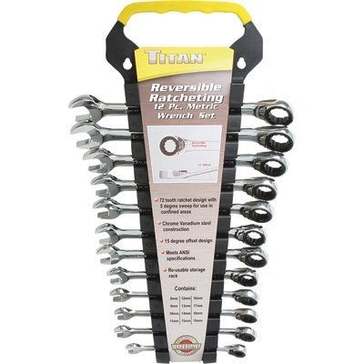 Titan 17365 12 Pieces Mm Reversible Ratcheting Wrench Set