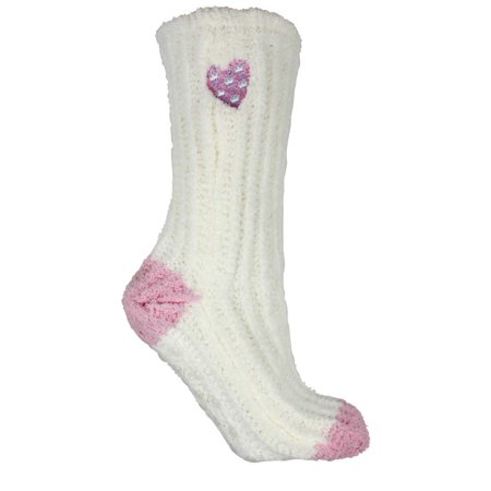 Fuzzy Dot Chenille (Women's Non-Skid Slipper Socks Fuzzy Slouchy Chenille Lavender Infused Pink Heart on Cream By Minx NY )