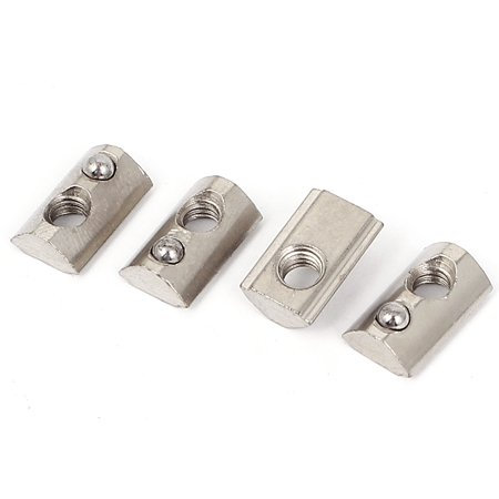Rohl Nuts - 4pcs M4 20 Series Metal Half Round Roll in T-slot Spring Nut w Ball