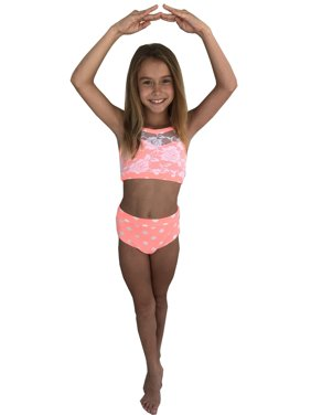 Elliewear Little Girls Coral Polka Dot Lace Top Brief 2 Pc Dance Set